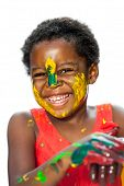 Happy African Youngster With Painted Face.