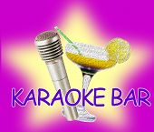 Retro microphone and cocktail on bright color background, Karaoke bar concept