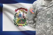 American Soldier With Us State Flag On Background - West Virginia