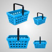 Vector shopping bag with round holes. blue