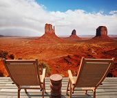 Red sandstone in the valley of the Navajo. Famous rock -