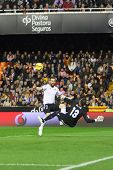 VALENCIA, SPAIN - JANUARY 25: Negredo in action during Spanish League match between Valencia CF and Sevilla FC at Mestalla Stadium on January 25, 2015 in Valencia, Spain