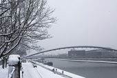 KRAKOW, POLAND - JAN 25, 2015: View of the Vistula River in the historic city center. Vistula is the longest river in Poland, at 1,047 kilometres in length.