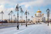 Orthodox Church Of Christ The Savior In Moscow At Winter
