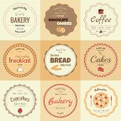 Set of 9 circle bakery labels