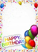 Birthday background with colorful balloon cartoon