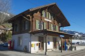 Exterior of the Rougemont railway station in Rougemont, Switzerland.