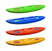 pic of kayak  - 4 color kayaks isolated on white background - JPG