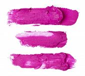 stock photo of lipstick  - Smudged purple lipstick isolated on white background - JPG