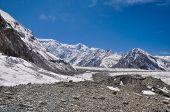 stock photo of shan  - Picturesque landscape on Engilchek glacier in Tian Shan mountain range in Kyrgyzstan - JPG