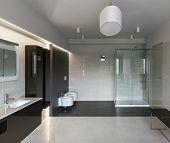 picture of light fixture  - Interior of modern luxury bathroom in minimalistic style - JPG