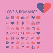 love, romance, wedding icons, signs, illustrations set, vector