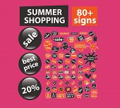 summer shopping, labels, stickers, icons, signs, illustrations set, vector