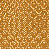 Orange And White Question Mark Symbol Pattern Repeat Background