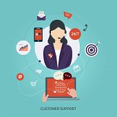 Business customer care service concept flat icons. Feedback. Woman with icons.