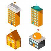 Set of flat isometric buildings