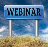 webinar online conference internet web meeting or workshop live video chat road sign