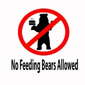 No Feeding Bears  Allowed Sign