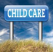 child care center road sign in daycare or cr�?�¨che by nanny or au pair parenting or babysitting protection against child abuse