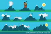 collection of flat mountains illustrations with sun, clouds and a volcano