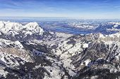 Swiss Alpine Jungfrau Region And Thun Lake Landscape