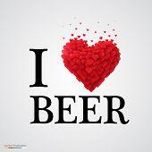 i love beer heart sign.