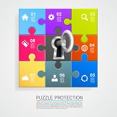 Puzzle infographics with key