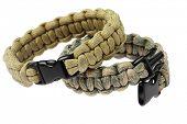 Para cord Survival Bracelets On White Background