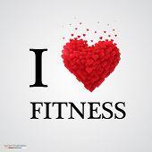 i love fitness heart sign.