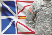 American Soldier With Canadian Province Flag On Background - Newfoundland And Labrador