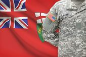 American Soldier With Canadian Province Flag On Background - Ontario