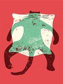 Cartoon retro funny cat on the pillow. Vector grunge illustration.