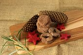 pic of christmas cookie  - Christmas cookies handmade lying on wooden background - JPG