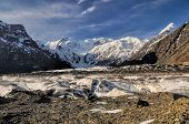 stock photo of shan  - Picturesque view of Engilchek glacier in Tian Shan mountain range in Kyrgyzstan - JPG