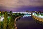 Arganzuela Bridge Illuminated At Night And Madrid Rio Park, Madrid