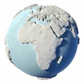 pic of continent  - Winter earth isolated on white background - JPG