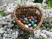 stock photo of easter decoration  - Painted Easter eggs for the Easter decoration - JPG
