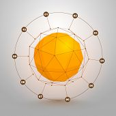 stock photo of dodecahedron  - Polygonal sphere of information art - JPG