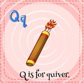 Illustration of a letter Q is for quiver