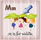 Illustration of a letter M is for middle