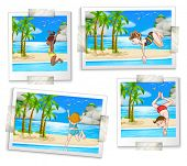 Illustration of four pictures of people jumping and diving
