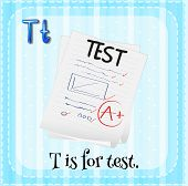 Illustration of a letter T is for test