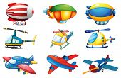 picture of float-plane  - Illustration of many plances and balloons - JPG