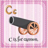 Illustration of a letter C is for cannon
