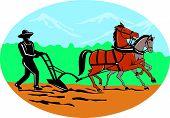 Farmer And Horses Plowing Field Cartoon