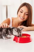 Woman Taking Good Care Of Her  Kitten