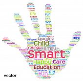 Vector concept or conceptual child education abstract hand print word cloud isolated on white background