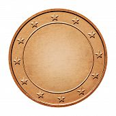 Bronze coin isolated on a white background