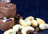 Assorted Chocolate Confectionery With Coffee Beans And Cashews