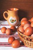 Beautiful Fresh Eggs In Basket